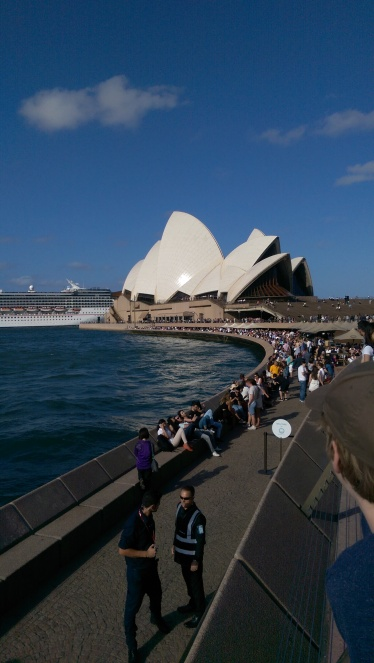 First glimpse of the Sydney Opera House.